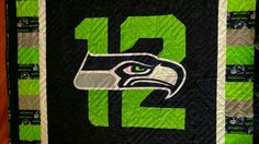 Close up of Seahawk head. Sport Themed Crafts, Seahawks, Quilting Ideas, Baby Quilts, Sewing Ideas, Blankets, Nfl, Crafty, Sayings