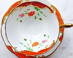 Royal Albert Crown China Orange Poppy Art Nouveau Avon Shape Tea Cup and Saucer