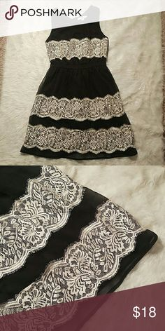 Black dress with Ivory lace Beautiful black dress with ivory lace, EUC!! No signs of wear, 100% polyester Dresses