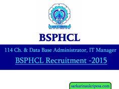 BSPHCL Recruitment 2015