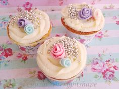 Cupcakes for Charlottes bday. Iittle rosettes and cupcake gem pearls on top Pretty Cupcakes, Beautiful Cupcakes, Yummy Cupcakes, Cupcake Cookies, Shabby Chic Cupcakes, Tolle Cupcakes, Birthday Party At Home, Birthday Ideas, Cupcake Collection