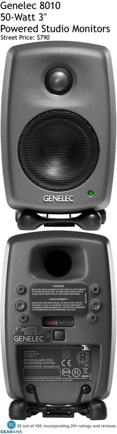 "Genelec 8010 50W 3"" Powered Studio Monitors. Features: 3"" LF driver 0.75"" HF tweeter - Bi Amplification: LF 25W 