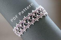 Tatting lace bracelet pdf pattern The Snow Queen by TheKimAndI