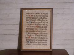 Medieval Painting on Vellum - 1600's Liturgical Latin Writings - Medieval Bible Page by BANANAbreadHOMESTEAD on Etsy https://www.etsy.com/listing/171782522/medieval-painting-on-vellum-1600s