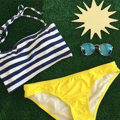 Stripe Bandeau $38.50 Citrus Bikini Bottoms $26.50 www.kingdomandstate.com #swim #swimwear #swimtop #swimbottom #retroswimwear #swimtop #swimbottom