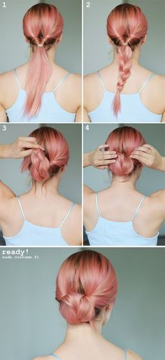 Easy braid to bun tutorial.
