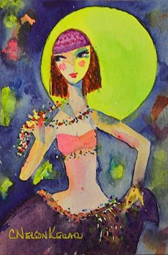 She Dances by the Light of the Moon   Watercolor painting ~ 6x4