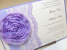 RYAN Lace Wedding Invitation with Flower Accent, Shabby Chic, Lavender Paperie.