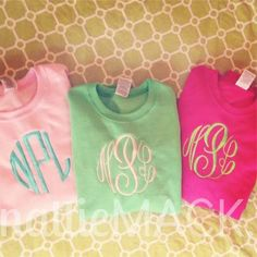 Green and Pink Monogrammed Sweatshirts from nattieMACK. #preppy #southernprep