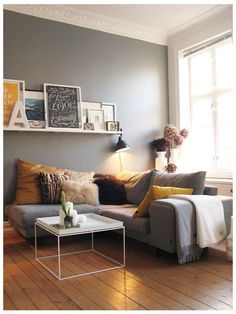 Simple and comfortable - mustard, yellow, grey, birch tones, textures.