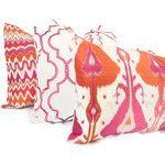 Orange and Pink Ikat Decorative Pillow Cover 18x18 20x20 22x22 Eurosham or Lumbar Pillow Throw