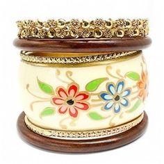 Anika's Boho Style White Flower Printed Gold Metal & Wood Ba... - Polyvore