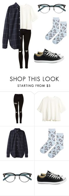 """School Outfit #14"" by junhuiswifey on Polyvore featuring Topshop, H&M, Our Legacy, Ace and Converse"