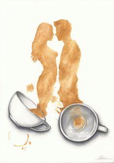Items similar to Tea for Two Print. Artwork by Jade Jones on Etsy Coffee Love, Coffee Art, Coffee Shop, Coffee Drawing, Coffee Painting, Art Aquarelle, Tea Art, Coffee Quotes, Watercolor Print