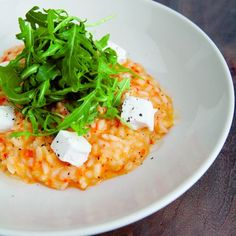 Roasted Red Pepper & Goat's Cheese Risotto. Risotto is one of my favorite things to make, always looking for new variations! I'm going to try parmesan instead of goat cheese (since my hubby isn't a fan). Try adding chopped spinach and shrimp cooked in pesto.