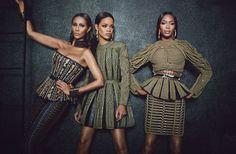 Phresh Out the Runway - Balmain Rihanna, Iman, Naomi Campbell. Could be sisters.