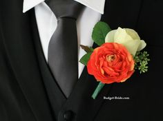 Rose and Teal Boutonniere