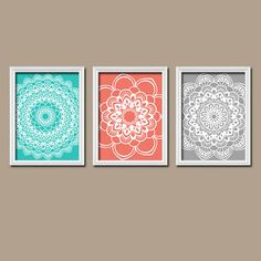 Coral Gray Wall Art CANVAS Turquoise Flower Radial Sun Burst Doilies Tribal Set of 3 Wall Decor  Bedroom Bathroom Decor