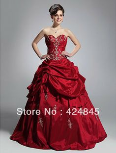 ELEGANT Ball Gown Sweetheart Long Taffeta 2013 Sexy Red Prom Dresses Masquerade gowns Formal Evening Dress Wholesale 00167635 $229.99