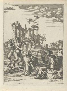 Arnold Houbraken   Twee saters en twee geestelijken, Arnold Houbraken, 1681 - 1683   Twee saters bij twee geestelijken in een landschap. De geestelijken maken afwerende gebaren en heffen een kruisbeeld op. Op de achtergrond een ruïne waarboven engeltjes en duiveltjes zweven. Rechtsboven: fol 4. Prent gebruikt in het boek: Toneel der ongevallen van Lambert van den Bos met in totaal twintig prenten van Arnold Houbraken.