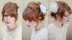 Penteado de noiva cabelo preso coque com franja flor