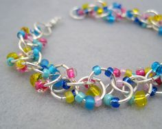 Beaded Bracelet  Silver Links  Blue Yellow and by randomcreative, $15.00