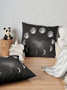 Alternate view of Moon Phase in Black and White Floor Pillow