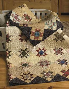 Turn reproduction fabrics and scraps into vintage-inspired quilts with Step Back In Time. This book, from Paula Barnes and Mary Ellen Robison of Red Crinoline Quilts, showcases scrappy quilts that will appeal to anyone who loves quilts from another time. Star Quilt Blocks, Star Quilts, Scrappy Quilts, Old Quilts, Antique Quilts, Vintage Quilts, Amish Quilts, Vintage Sewing, Quilting Projects
