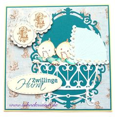 "DIY Greeting card for baby twins: Stamp and Cradle Die ""Elines Baby"" Marianne Design; Designerpaper ""Vintage Baby"" Maja Design; Sentiment CraftEmotions; ""Oval Frame"" WildRoseStudio; Circles & Scalloped Circles Spellbinders; ""XXL Nest-lies Stitched Ovals"" Crealies; Babies colored with TwinklingsH2O"