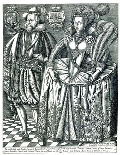 King James I and VI of England and Scotland and his Queen, Anne of Denmark King James Of Scotland, King James I, King James Bible, Uk History, Tudor History, British History, Family History, Fashion History, Stuart Dynasty