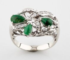 10k White Gold Cabochon Jadeite & Diamond Ring Cluster Ring Size 5.75 TDW=.63 ct #Unbranded #Cluster