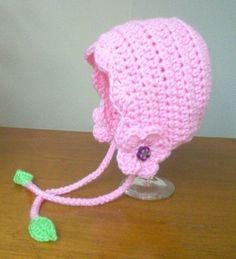 Crochet Flower Baby Bonnet