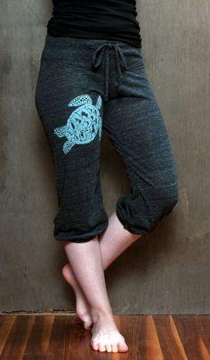 be still my Sea Turtle Pants, Cropped Pants, Yoga Capris, S,M,L,XL