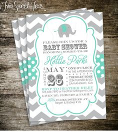 Elephant Baby Shower Invitation Chevron Gray Pink Blue Yellow Mint Circus Modern Digital Printable DIY