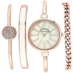 Anne Klein Rose Goldtone Watch and Bracelet Set (€135) ❤ liked on Polyvore featuring jewelry, watches, rose gold, rose gold tone watches, bangle watches, swarovski crystal bangle, bangle bracelet and rose watches