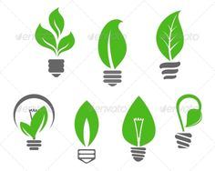 Light Bulbs with Green Leaves