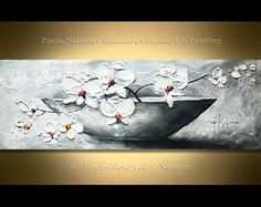 Original Painting on canvas Orchid in a Vase hand painted palette knife texture authentic feel by Nizamas