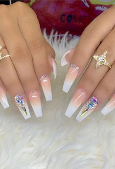 In this article, we collect The Most Popular Nail Design for Coffin Nails. These coffin nails are beautiful in color, design, and shape, and will certainly give you the greatest inspiration. Coffin Nails Ombre, White Acrylic Nails, Best Acrylic Nails, Pink Coffin, Acrylic Gel, Pastel Nails, Gold Nail Designs, Nails Design With Rhinestones, Acrylic Nail Designs