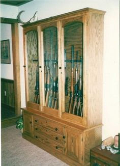 Custom Oak Gun Cabinet With Locking Doors And Drawers. Raised Panel Doors  And All Drawers Are Maple With Dovetails. There Are Also Drawers For  Pistolsu2026