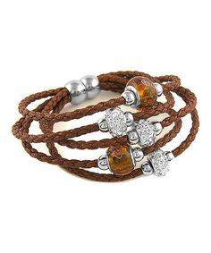 Look at this #zulilyfind! Swarovski® Crystal & Brown Leather Beaded Bracelet #zulilyfinds