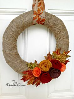 Fall Wreath Burlap Wreath fall decor front by TheVioletteBloom