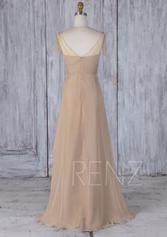 Champagne Chiffon Bridesmaid Dress,Illusion Cap Sleeves Beaded Maxi Dress,Ruched  Sweetheart Tulle Wedding Dress,Long A-Line Prom Dress(J210) 4ac154aba0