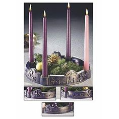 """Advent Wreath """"Journey to Bethlehem"""" $35.00  Purple advent wreath depicting the events of the nativity made of resin with gold wash finish.  Includes advent candles. 10 1/2"""" diameter 2 1/2"""" high."""