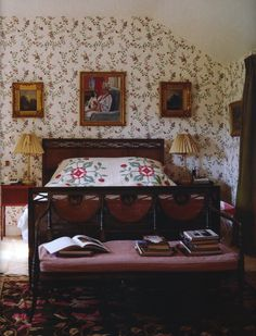 Bedroom at the Old Vicarage where Deborah (Mitford) the Duchess of Devonshire retired after Chatsworth.