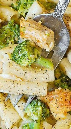 Chicken Broccoli Alfredo with garlic