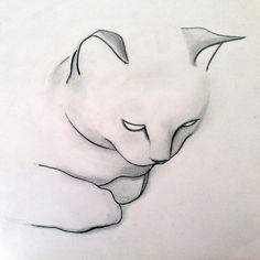 """Saatchi Art Artist Kellas Campbell; Drawing, """"SOLD - Contemplative Cat"""" #art"""