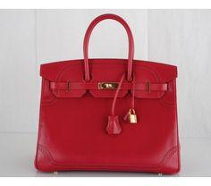 Hermes Ruby Red Ghillies Tadelakt 35cm Birkin Bag