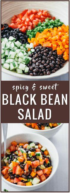 easy salad recipe, spicy sweet black bean salad, chipotle adobo sauce, honey, scallions, tomatoes via @savory_tooth