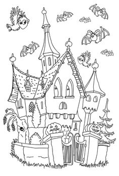 Halloween Haunted House Coloring Page Fresh Coloring Books Halloween Coloring Pages for Adults Castle Coloring Page, House Colouring Pages, Coloring Book Pages, Printable Coloring Pages, Halloween Doodle, Halloween Drawings, Halloween Pictures, Halloween Movies, Halloween Halloween