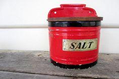 Beautiful Red Enamel Old Vintage Salt Box by BaysideVintageShop, $65.00 Vintage Kitchen Accessories, Salt Cellars, Salt Box, Cozy House, Spoons, Coffee Cans, Etsy Vintage, Jars, Boxes